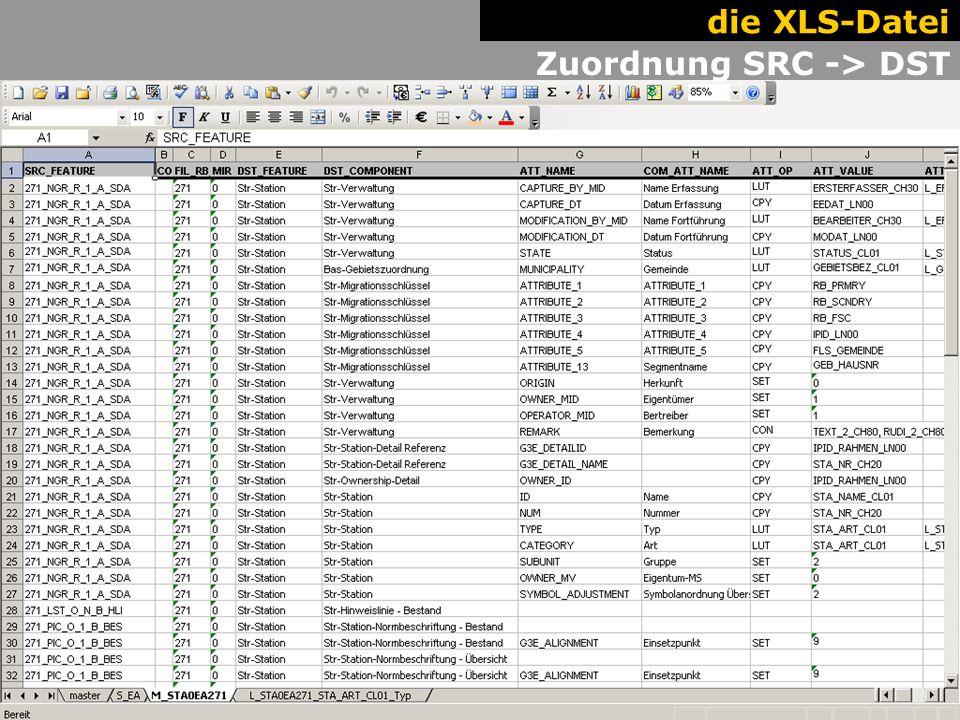 13 The XLS. Work Flow. Zuordnung SRC -> DST die XLS-Datei
