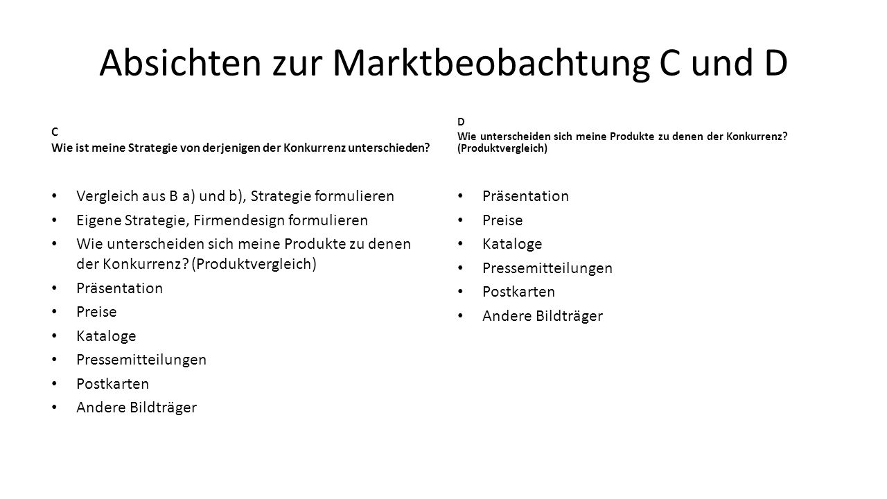 Absichten zur Marktbeobachtung C und D C Wie ist meine Strategie von derjenigen der Konkurrenz unterschieden? Vergleich aus B a) und b), Strategie for