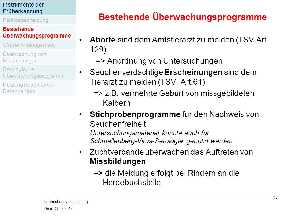 10 Informationsveranstaltung Bern, 09.02.2012 Aborte sind dem Amtstierarzt zu melden (TSV Art.
