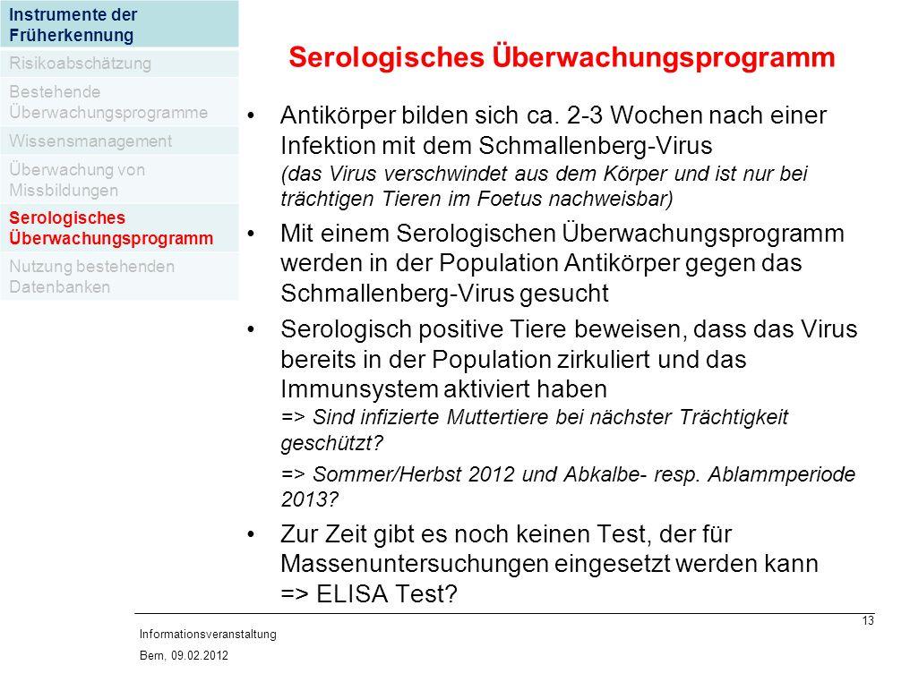 13 Informationsveranstaltung Bern, 09.02.2012 Antikörper bilden sich ca.