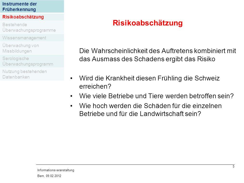 5 Informationsveranstaltung Bern, 09.02.2012 Die Wahrscheinlichkeit des Auftretens kombiniert mit das Ausmass des Schadens ergibt das Risiko Wird die Krankheit diesen Frühling die Schweiz erreichen.