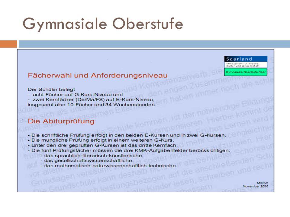 Schulzeitstreckung c) Stundentafel mit Schulzeitstreckung und Sport als Grundkurs Kurs 11/111/212/112/213/113/2 Englisch und Deutsch wer-den verpflichtend als E-Kurse, Mathematik als G-Kurs belegt.