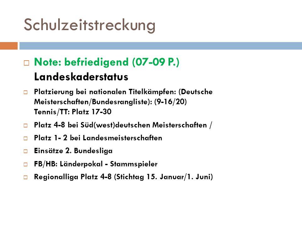 Schulzeitstreckung  Note: befriedigend (07-09 P.) Landeskaderstatus  Platzierung bei nationalen Titelkämpfen: (Deutsche Meisterschaften/Bundesrangliste): (9-16/20) Tennis/TT: Platz 17-30  Platz 4-8 bei Süd(west)deutschen Meisterschaften /  Platz 1- 2 bei Landesmeisterschaften  Einsätze 2.