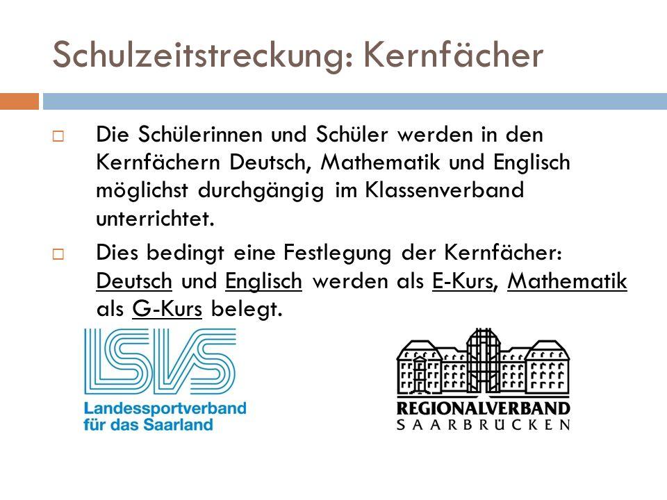 Schulzeitstreckung: Kernfächer  Die Schülerinnen und Schüler werden in den Kernfächern Deutsch, Mathematik und Englisch möglichst durchgängig im Klassenverband unterrichtet.