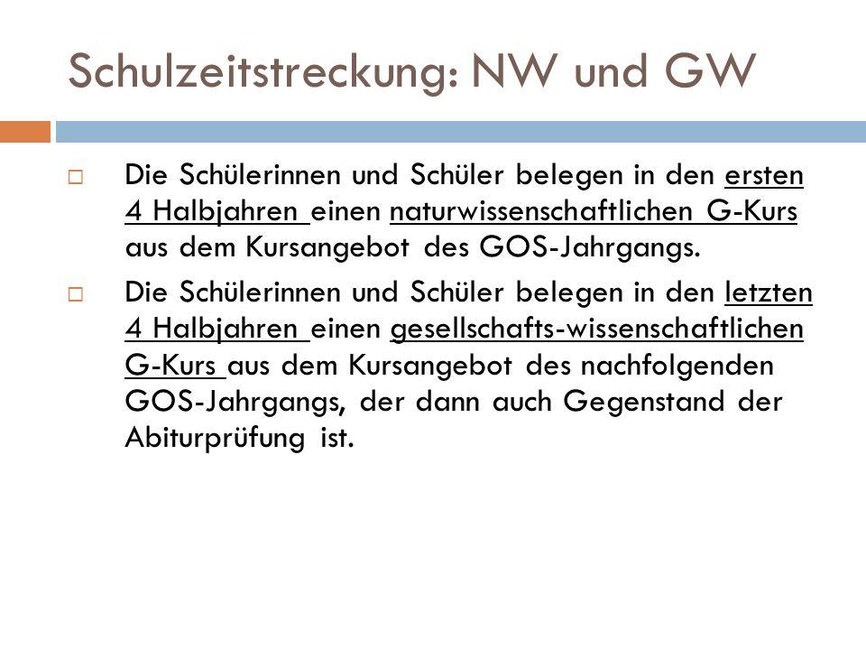 Schulzeitstreckung: NW und GW  Die Schülerinnen und Schüler belegen in den ersten 4 Halbjahren einen naturwissenschaftlichen G-Kurs aus dem Kursangebot des GOS-Jahrgangs.