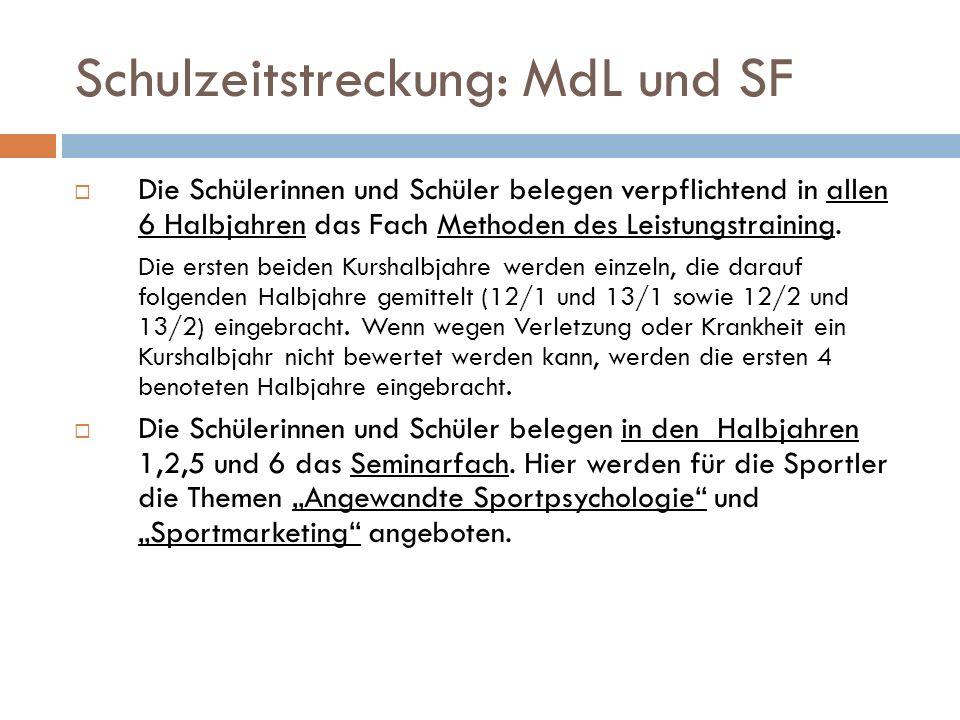 Schulzeitstreckung: MdL und SF  Die Schülerinnen und Schüler belegen verpflichtend in allen 6 Halbjahren das Fach Methoden des Leistungstraining.