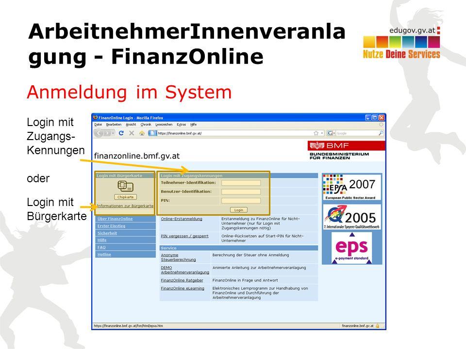 ArbeitnehmerInnenveranla gung - FinanzOnline Anmeldung im System Login mit Bürgerkarte Login mit Zugangs- Kennungen oder