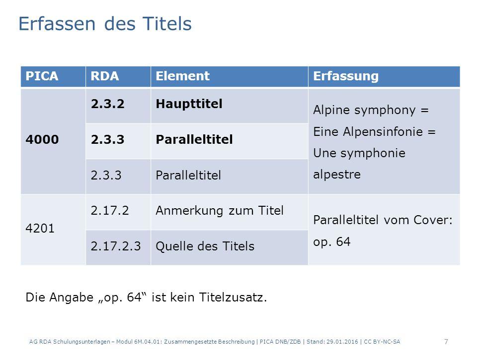 8 PICARDAElementErfassung 4000 2.4.2 Verantwortlichkeits- angabe … / Richard Strauss ; Saito Kinen Orchestra ; Daniel Harding [Dirigent] 2.4.2 Verantwortlichkeits- angabe 2.4.2 Verantwortlichkeits- angabe Erfassen der Verantwortlichkeitsangabe AG RDA Schulungsunterlagen – Modul 6M.04.01: Zusammengesetzte Beschreibung | PICA DNB/ZDB | Stand: 29.01.2016 | CC BY-NC-SA
