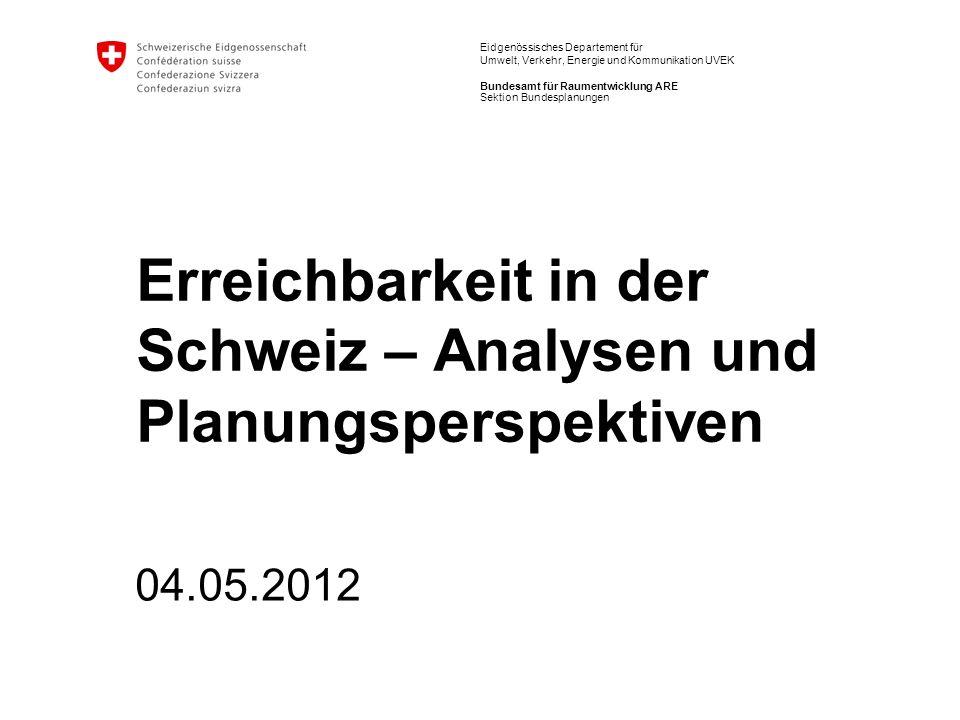 22 Erreichbarkeit in der Schweiz| Analysen und Planungsperspektiven Martin Tschopp Erreichbarkeit: Der Potentialansatz E i = Erreichbarkeitsmass in Punkt i A j = Anzahl Aktivitätspunkte (z.