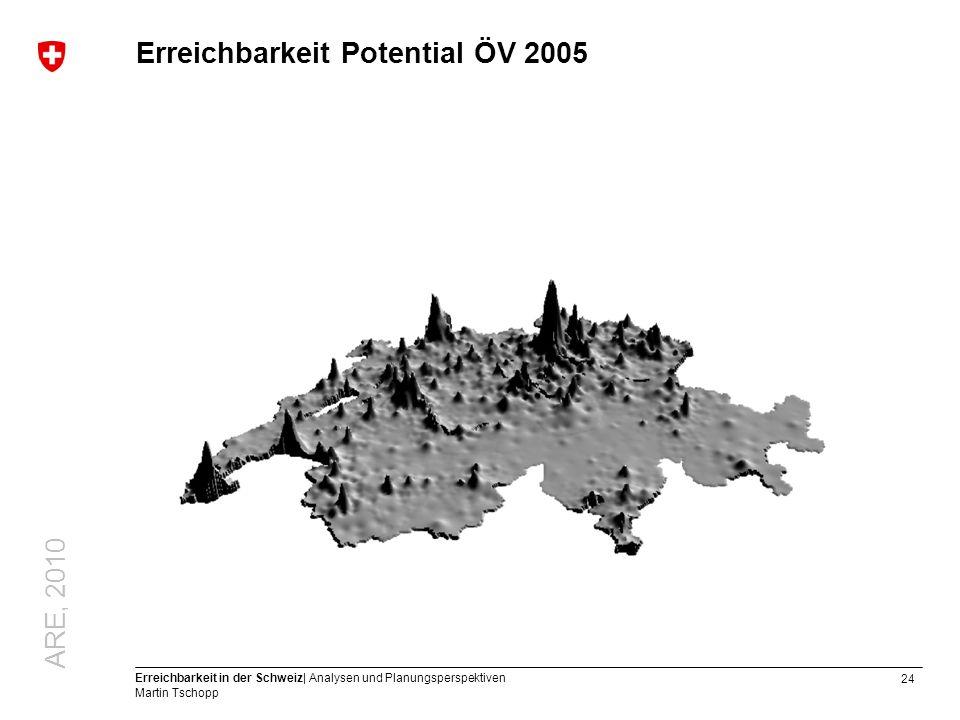 24 Erreichbarkeit in der Schweiz| Analysen und Planungsperspektiven Martin Tschopp Erreichbarkeit Potential ÖV 2005 ARE, 2010