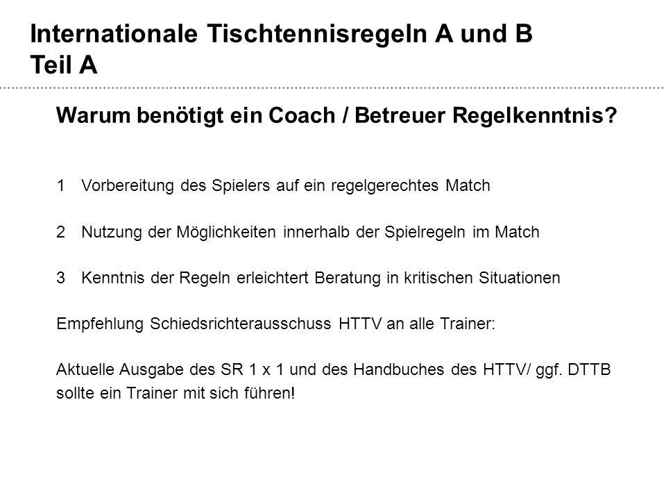Internationale Tischtennisregeln A und B Teil A Warum benötigt ein Coach / Betreuer Regelkenntnis? 1Vorbereitung des Spielers auf ein regelgerechtes M