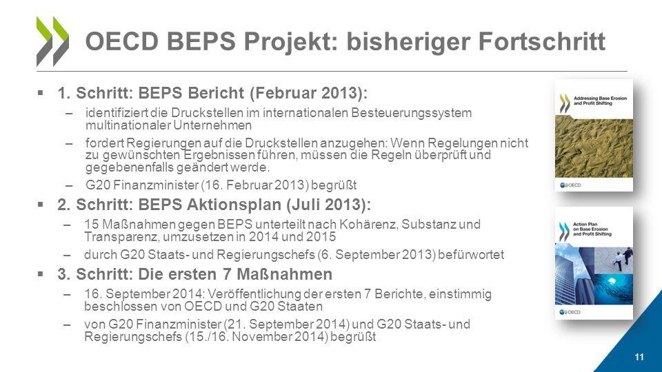  1. Schritt: BEPS Bericht (Februar 2013): –identifiziert die Druckstellen im internationalen Besteuerungssystem multinationaler Unternehmen –fordert