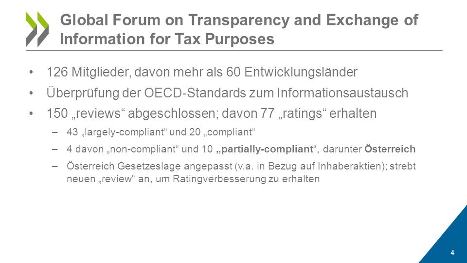 """126 Mitglieder, davon mehr als 60 Entwicklungsländer Überprüfung der OECD-Standards zum Informationsaustausch 150 """"reviews abgeschlossen; davon 77 """"ratings erhalten –43 """"largely-compliant und 20 """"compliant –4 davon """"non-compliant und 10 """"partially-compliant , darunter Österreich –Österreich Gesetzeslage angepasst (v.a."""
