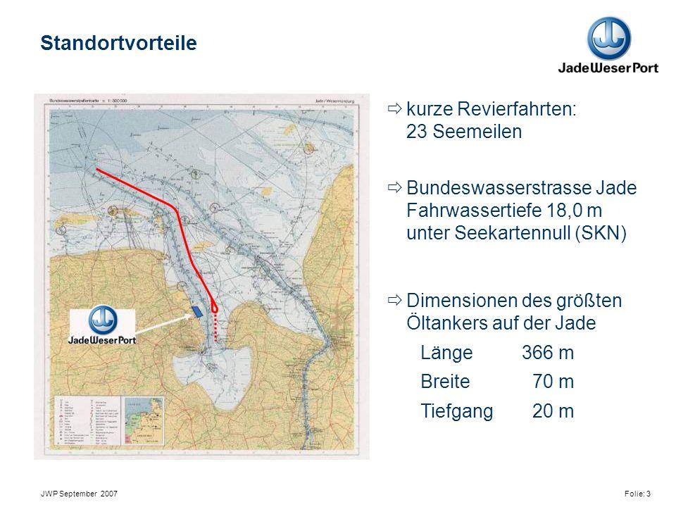 JWP September 2007 Folie: 3  kurze Revierfahrten: 23 Seemeilen  Bundeswasserstrasse Jade Fahrwassertiefe 18,0 m unter Seekartennull (SKN)  Dimensionen des größten Öltankers auf der Jade Länge366 m Breite 70 m Tiefgang 20 m Standortvorteile