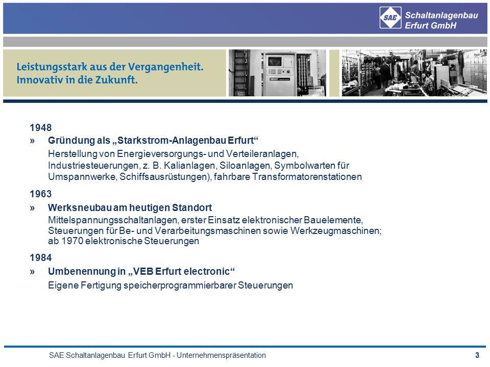 """SAE Schaltanlagenbau Erfurt GmbH - Unternehmenspräsentation3 1948 »Gründung als """"Starkstrom-Anlagenbau Erfurt Herstellung von Energieversorgungs- und Verteileranlagen, Industriesteuerungen, z."""