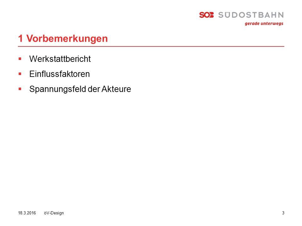 1 Vorbemerkungen öV-Design 318.3.2016  Werkstattbericht  Einflussfaktoren  Spannungsfeld der Akteure
