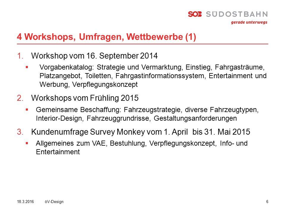 4 Workshops, Umfragen, Wettbewerbe (1) öV-Design618.3.2016 1.Workshop vom 16.