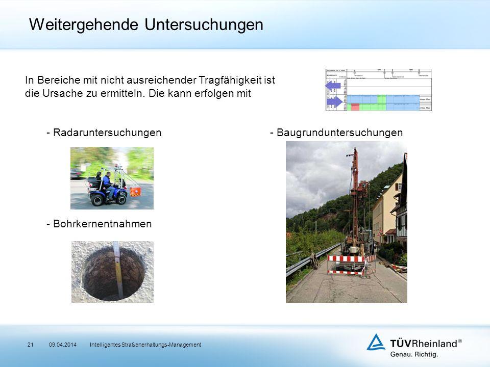 Intelligentes Straßenerhaltungs-Management21 Weitergehende Untersuchungen In Bereiche mit nicht ausreichender Tragfähigkeit ist die Ursache zu ermitteln.