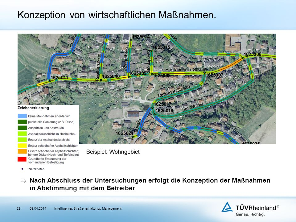  Nach Abschluss der Untersuchungen erfolgt die Konzeption der Maßnahmen in Abstimmung mit dem Betreiber Intelligentes Straßenerhaltungs-Management Konzeption von wirtschaftlichen Maßnahmen.
