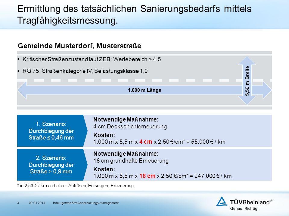 3Intelligentes Straßenerhaltungs-Management Ermittlung des tatsächlichen Sanierungsbedarfs mittels Tragfähigkeitsmessung.