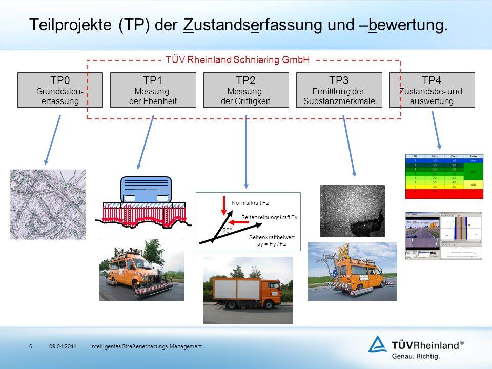Intelligentes Straßenerhaltungs-Management Teilprojekte (TP) der Zustandserfassung und –bewertung.