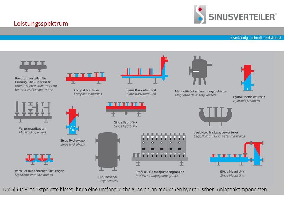 zuverlässig - schnell - individuell Leistungsspektrum Die Sinus Produktpalette bietet Ihnen eine umfangreiche Auswahl an modernen hydraulischen Anlagenkomponenten.