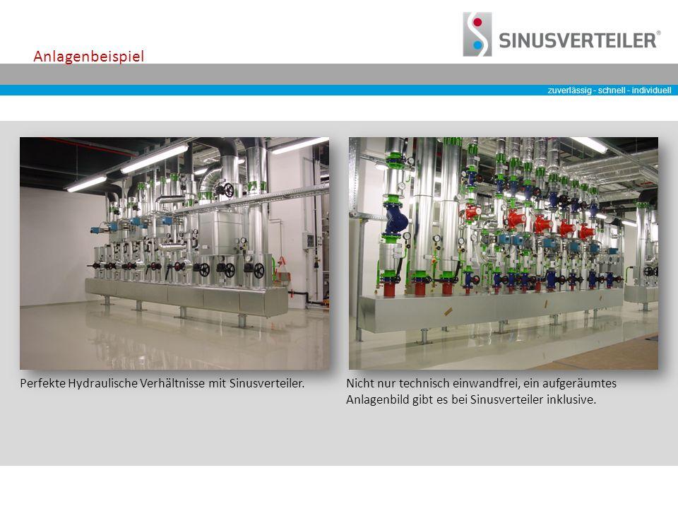 zuverlässig - schnell - individuell Anlagenbeispiel Perfekte Hydraulische Verhältnisse mit Sinusverteiler.Nicht nur technisch einwandfrei, ein aufgeräumtes Anlagenbild gibt es bei Sinusverteiler inklusive.