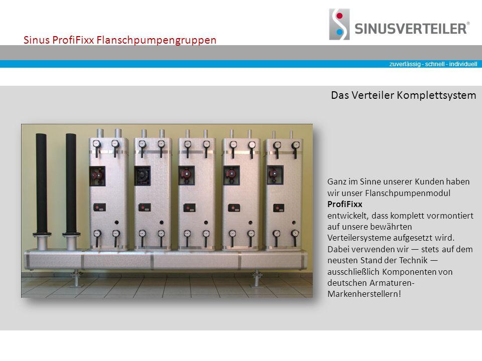 zuverlässig - schnell - individuell Sinus ProfiFixx Flanschpumpengruppen Ganz im Sinne unserer Kunden haben wir unser Flanschpumpenmodul ProfiFixx entwickelt, dass komplett vormontiert auf unsere bewährten Verteilersysteme aufgesetzt wird.