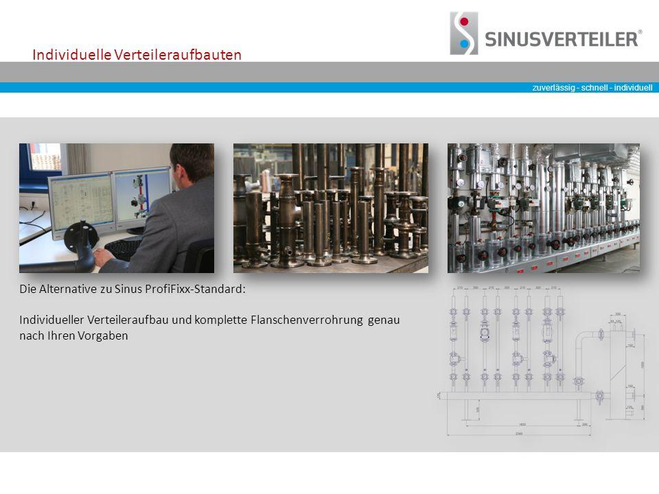 zuverlässig - schnell - individuell Individuelle Verteileraufbauten Die Alternative zu Sinus ProfiFixx-Standard: Individueller Verteileraufbau und komplette Flanschenverrohrung genau nach Ihren Vorgaben