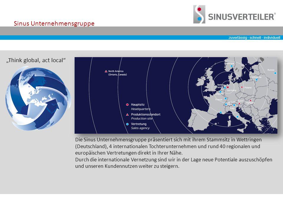 zuverlässig - schnell - individuell Sinus Unternehmensgruppe Die Sinus Unternehmensgruppe präsentiert sich mit ihrem Stammsitz in Wettringen (Deutschland), 4 internationalen Tochterunternehmen und rund 40 regionalen und europäischen Vertretungen direkt in Ihrer Nähe.