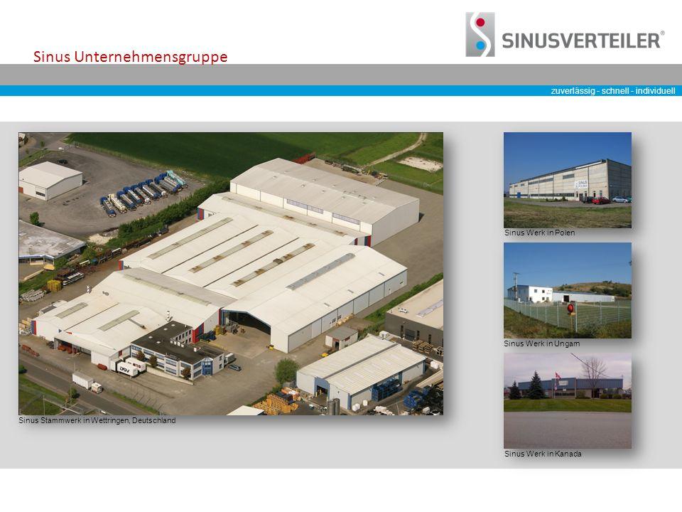zuverlässig - schnell - individuell Sinus Unternehmensgruppe Sinus Werk in Polen Sinus Werk in Kanada Sinus Werk in Ungarn Sinus Stammwerk in Wettringen, Deutschland