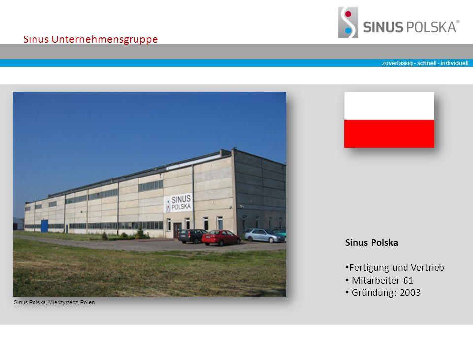 zuverlässig - schnell - individuell Sinus Unternehmensgruppe Sinus Polska, Miedzyrzecz, Polen Sinus Polska Fertigung und Vertrieb Mitarbeiter 61 Gründung: 2003
