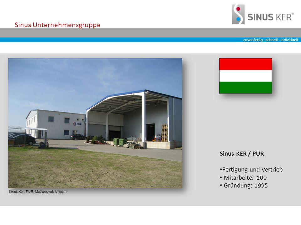 zuverlässig - schnell - individuell Sinus Unternehmensgruppe Sinus Ker / PUR, Matranovak, Ungarn Sinus KER / PUR Fertigung und Vertrieb Mitarbeiter 100 Gründung: 1995