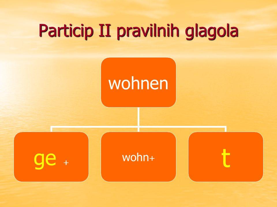wohnen ge +wohn+t Particip II pravilnih glagola