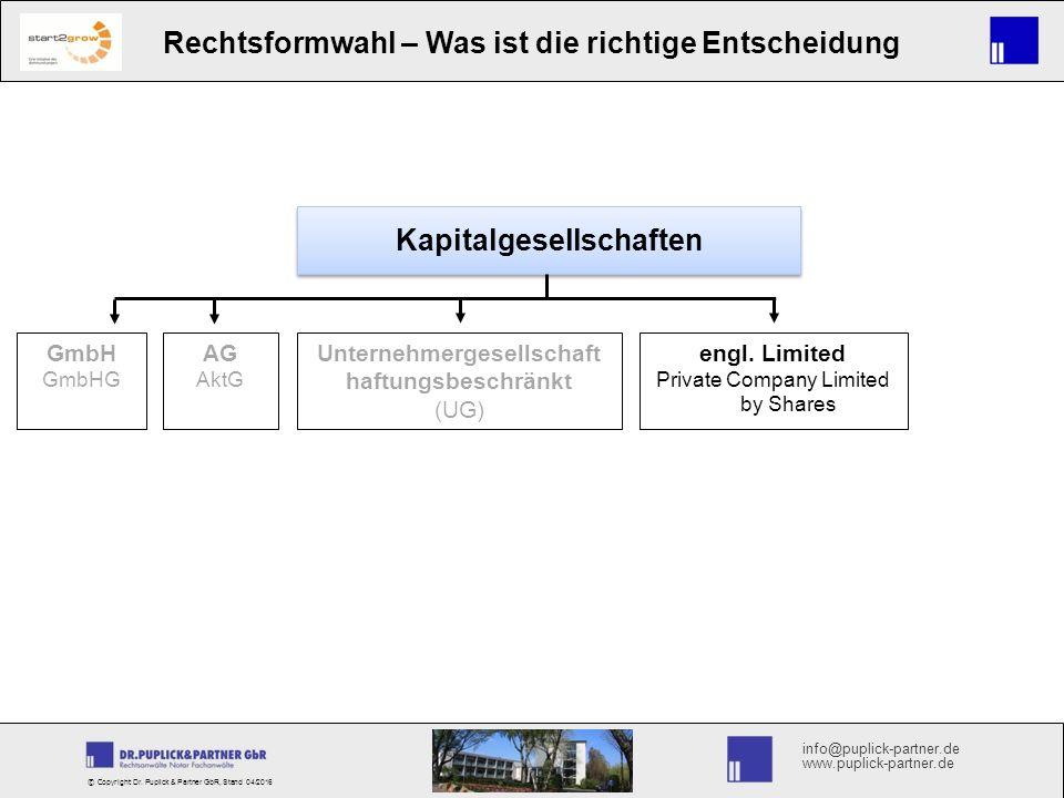 info@puplick-partner.de www.puplick-partner.de Rechtsformwahl – Was ist die richtige Entscheidung © Copyright Dr.