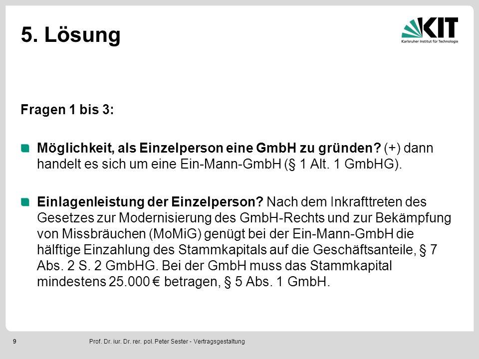 9 5. Lösung Fragen 1 bis 3: Möglichkeit, als Einzelperson eine GmbH zu gründen.