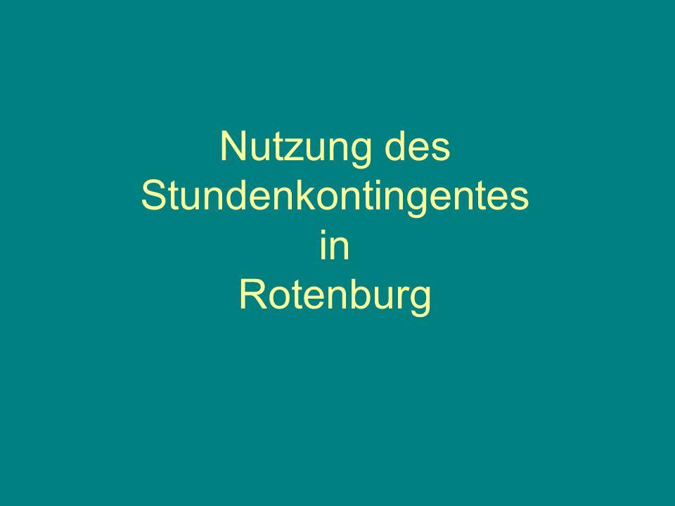 Nutzung des Stundenkontingentes in Rotenburg