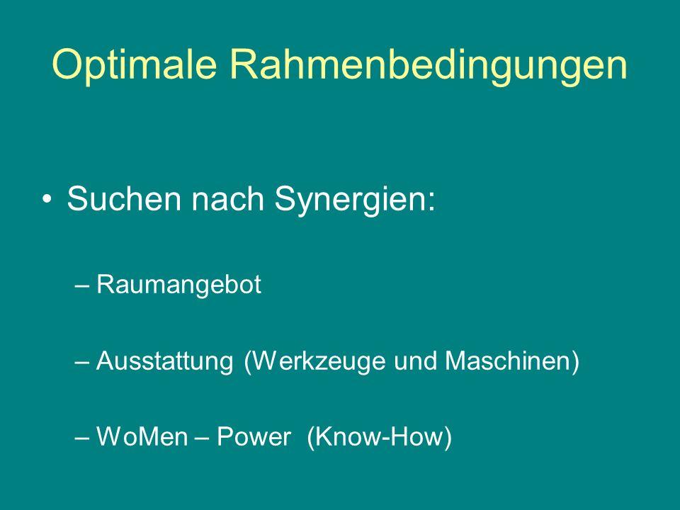 Optimale Rahmenbedingungen Suchen nach Synergien: –Raumangebot –Ausstattung (Werkzeuge und Maschinen) –WoMen – Power (Know-How)