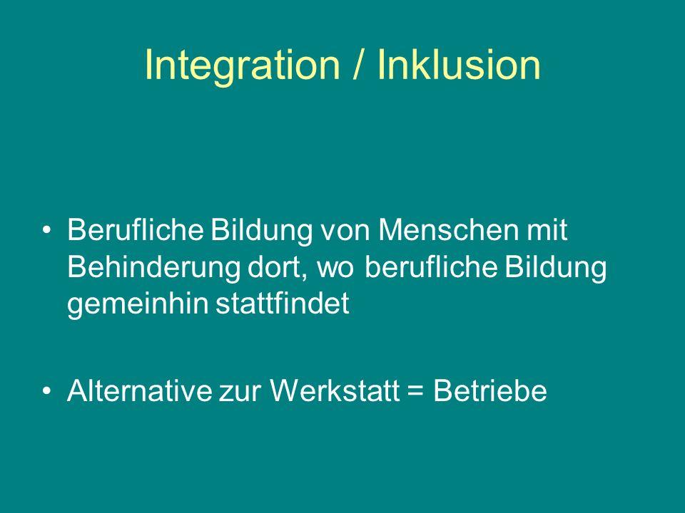 Integration / Inklusion Berufliche Bildung von Menschen mit Behinderung dort, wo berufliche Bildung gemeinhin stattfindet Alternative zur Werkstatt = Betriebe
