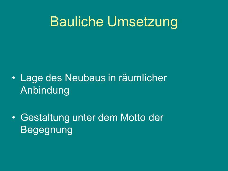 Bauliche Umsetzung Lage des Neubaus in räumlicher Anbindung Gestaltung unter dem Motto der Begegnung