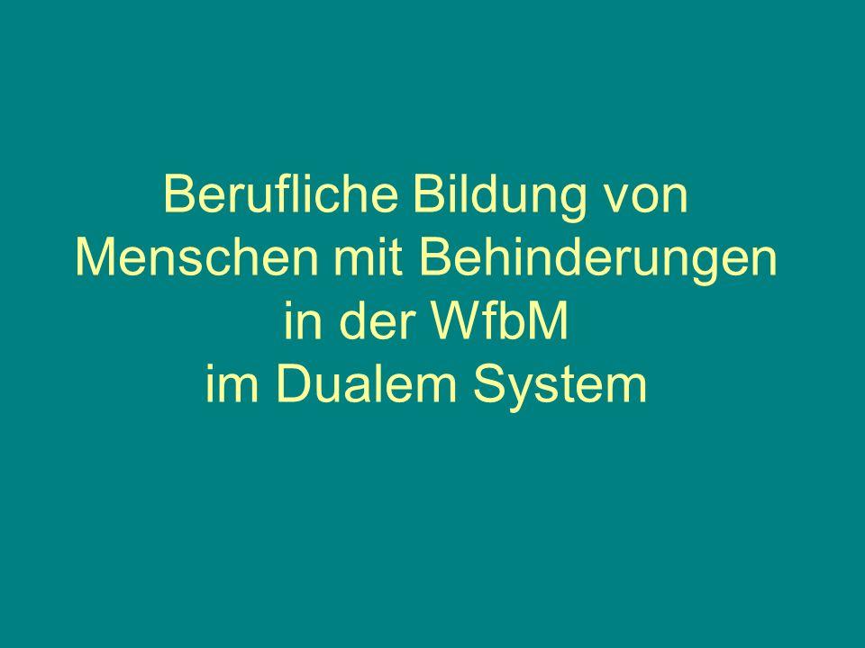 Berufliche Bildung von Menschen mit Behinderungen in der WfbM im Dualem System