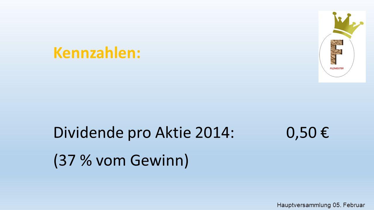 Hauptversammlung 05. Februar 2015 Kennzahlen: Dividende pro Aktie 2014:0,50 € (37 % vom Gewinn)