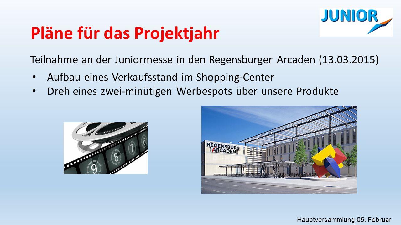 Pläne für das Projektjahr Teilnahme an der Juniormesse in den Regensburger Arcaden (13.03.2015) Aufbau eines Verkaufsstand im Shopping-Center Dreh eines zwei-minütigen Werbespots über unsere Produkte Hauptversammlung 05.