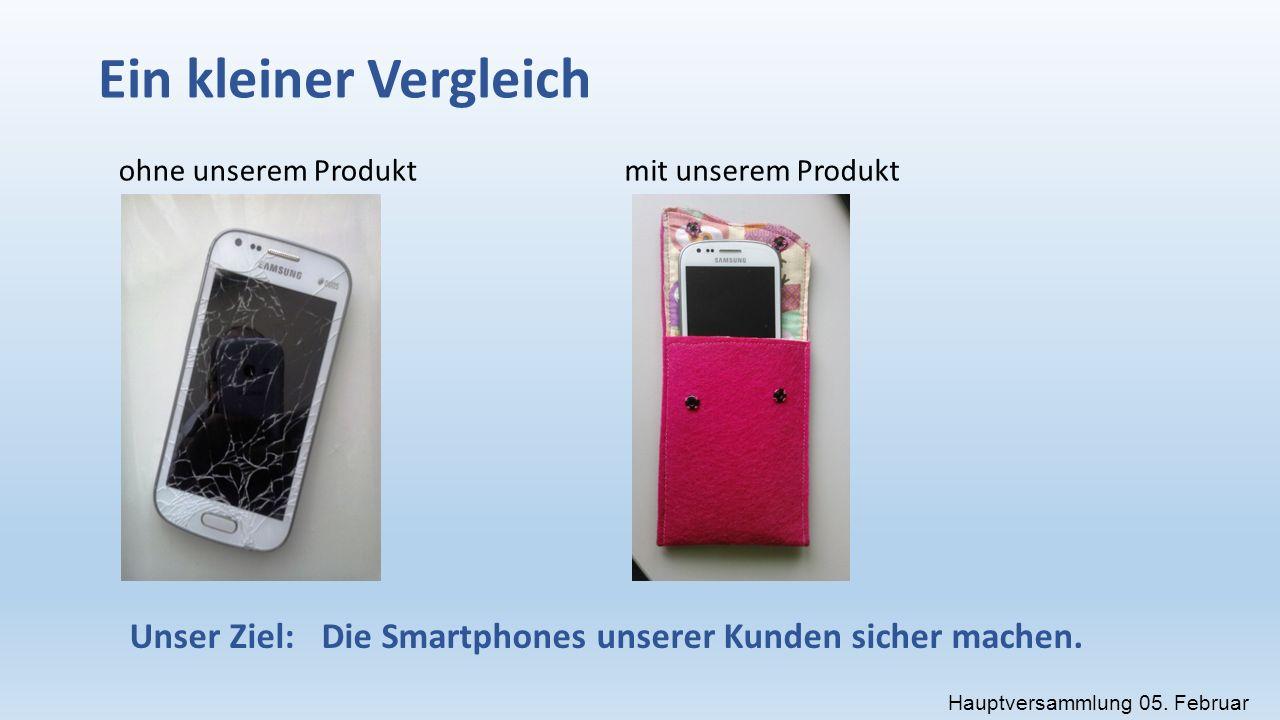 Ein kleiner Vergleich ohne unserem Produktmit unserem Produkt Unser Ziel:Die Smartphones unserer Kunden sicher machen.