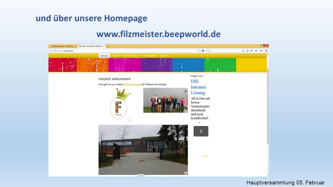 und über unsere Homepage www.filzmeister.beepworld.de Hauptversammlung 05. Februar 2015