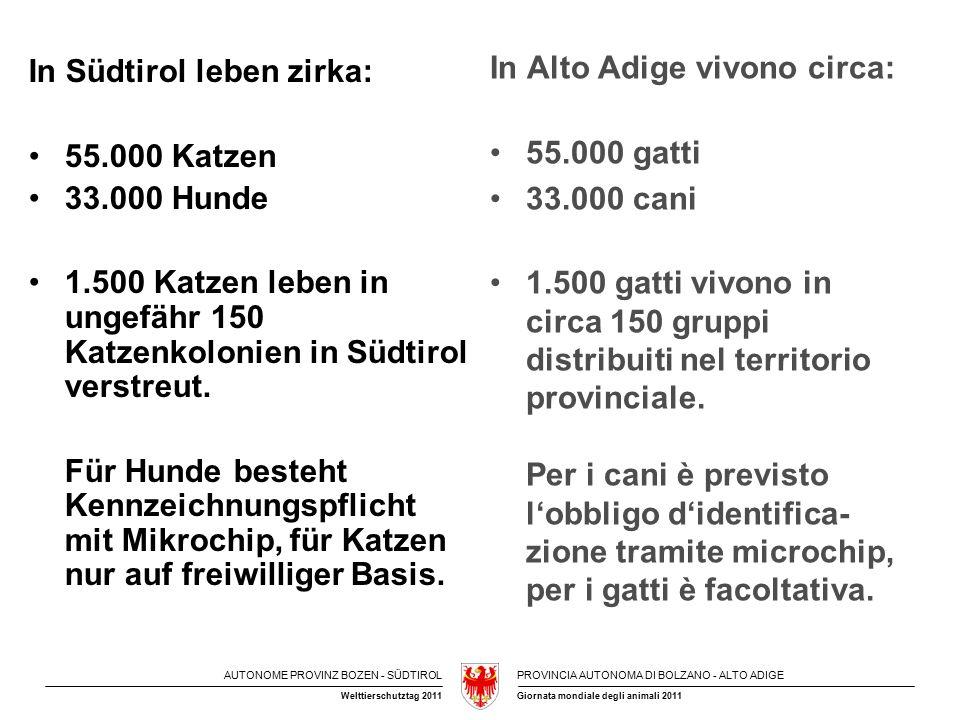 AUTONOME PROVINZ BOZEN - SÜDTIROLPROVINCIA AUTONOMA DI BOLZANO - ALTO ADIGE Giornata mondiale degli animali 2011Welttierschutztag 2011 In Südtirol leben zirka: 55.000 Katzen 33.000 Hunde 1.500 Katzen leben in ungefähr 150 Katzenkolonien in Südtirol verstreut.