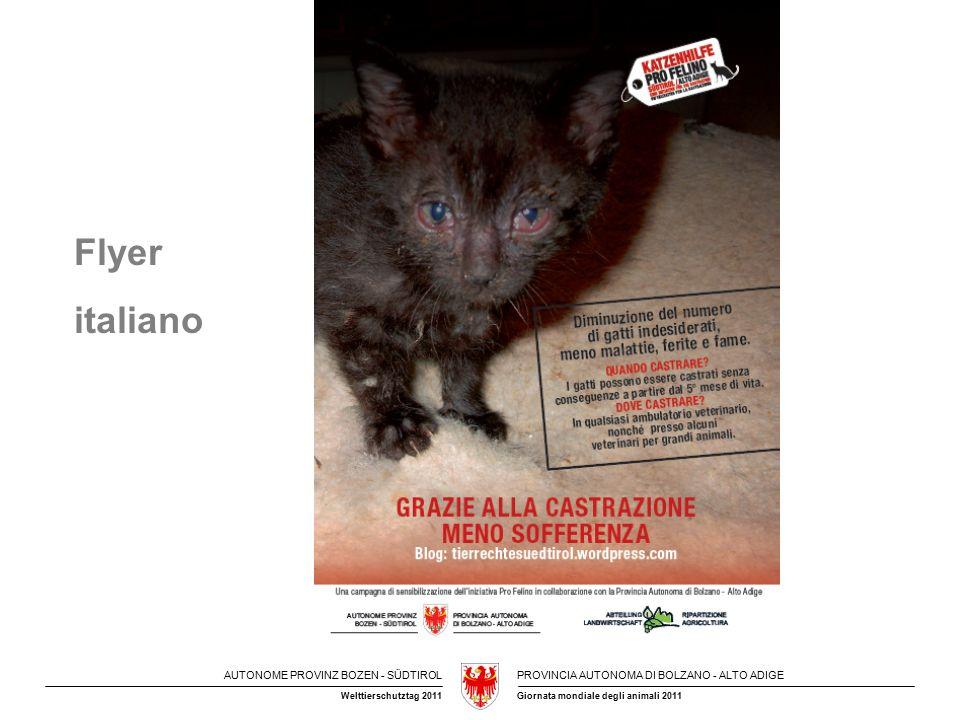 AUTONOME PROVINZ BOZEN - SÜDTIROLPROVINCIA AUTONOMA DI BOLZANO - ALTO ADIGE Giornata mondiale degli animali 2011Welttierschutztag 2011 Das Land Südtirol, Abteilung Landwirtschaft, vergibt über den Landes- tierärztlichen Dienst an 11 Tierschutzvereine im Jahr 2011 insgesamt Beiträge über 310.000,00 € Für das Jahr 2012 ist eine Aufstockung auf 320.000,00 € geplant.