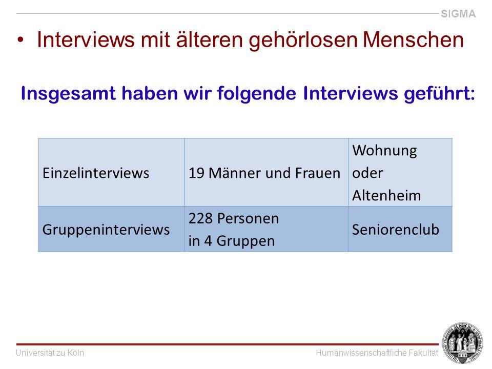 Universität zu KölnHumanwissenschaftliche Fakultät SIGMA Interviews mit älteren gehörlosen Menschen Einzelinterviews19 Männer und Frauen Wohnung oder Altenheim Gruppeninterviews 228 Personen in 4 Gruppen Seniorenclub Insgesamt haben wir folgende Interviews geführt: