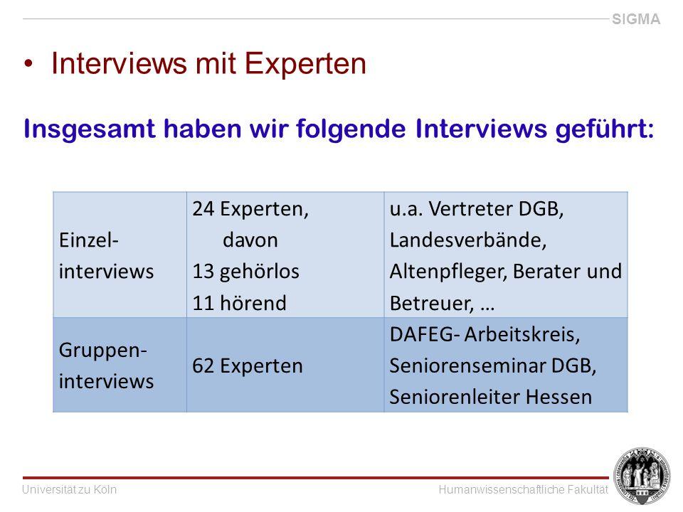 Universität zu KölnHumanwissenschaftliche Fakultät SIGMA Interviews mit Experten Einzel- interviews 24 Experten, davon 13 gehörlos 11 hörend u.a.