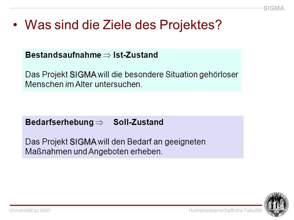 Universität zu KölnHumanwissenschaftliche Fakultät SIGMA Was sind die Ziele des Projektes.